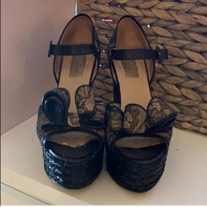 VALENTINO Black Lace Platform Wedge with Bow